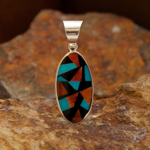 David Rosales Red Canyon Inlaid Sterling Silver Pendant
