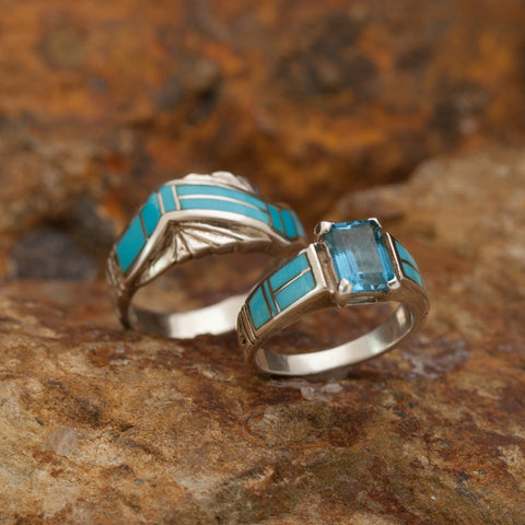 David Rosales Couples' Set Arizona Blue Inlaid Sterling Silver Ring