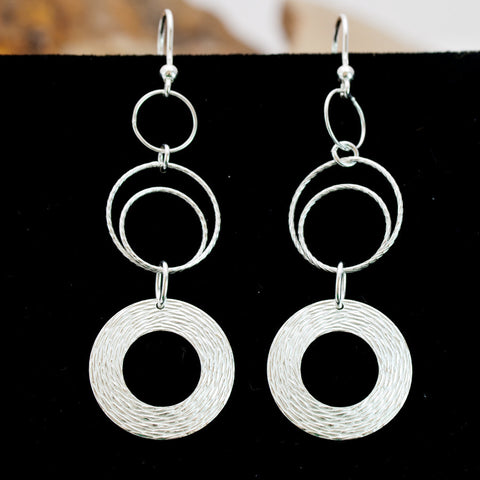 Woven Wreath Circles and Rhodium Wire Earrings