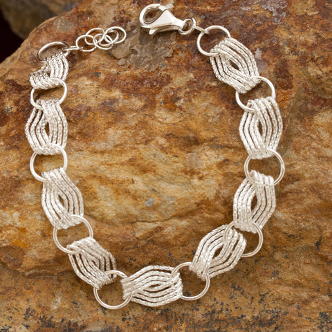 Woven Wave Sterling Silver and Rhodium Bracelet