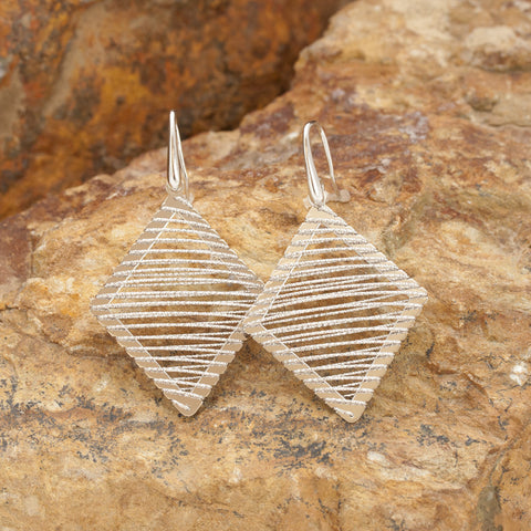 Large Sterling Silver and Rhodium Diamond Shaped Wire Earrings