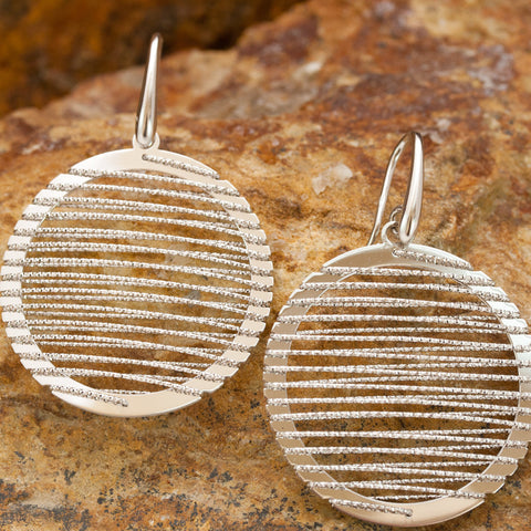 Large Round Sterling Silver and Rhodium Wire Earrings