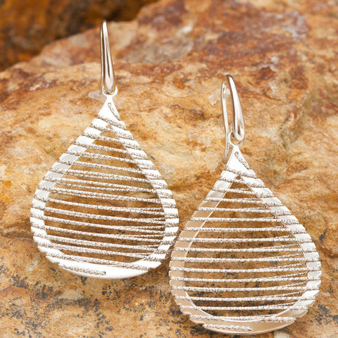 Large Sterling Silver and Rhodium Teardrop Wire Earrings