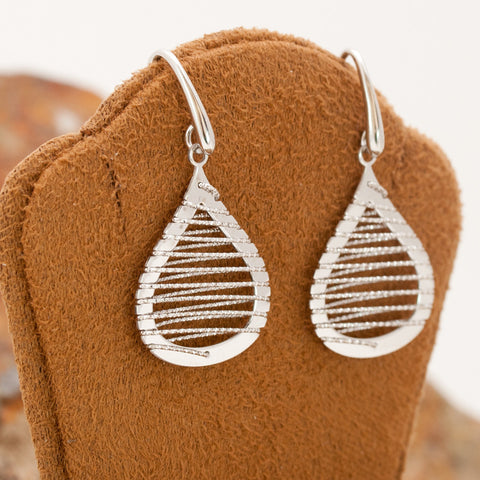 Small Sterling Silver and Rhodium Teardrop Wire Earrings