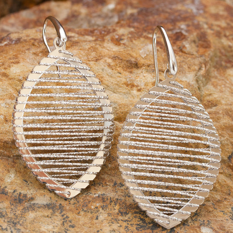 Large Sterling Silver and Rhodium Ellipse Wire Earrings