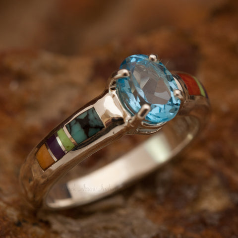 David Rosales Indian Summer Inlaid Sterling Silver Ring w/ Blue Topaz