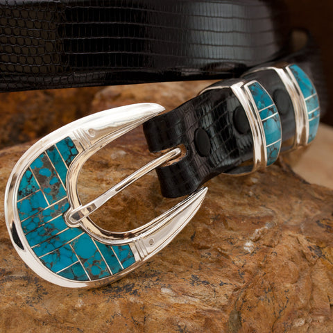 "Supersmith Campitos Turquoise Inlaid 1"" Ranger Belt Buckle"