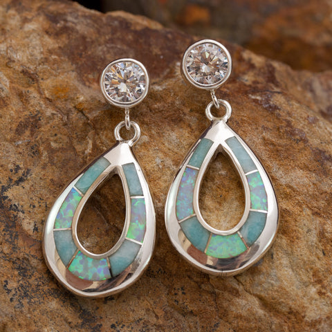 David Rosales Amazing Light Inlaid Sterling Silver Earrings