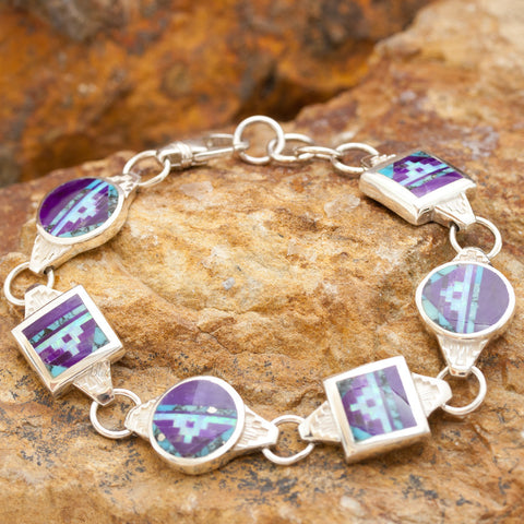 David Rosales Shalako Fancy Inlaid Sterling Silver Toggle Bracelet