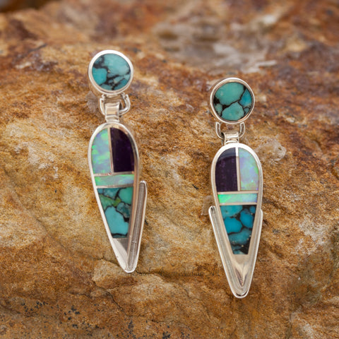 David Rosales Shalako Inlaid Sterling Silver Earrings