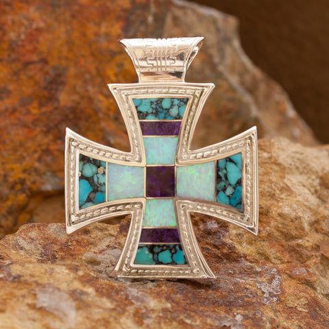 David Rosales Shalako Inlaid Sterling Silver Pendant Cross