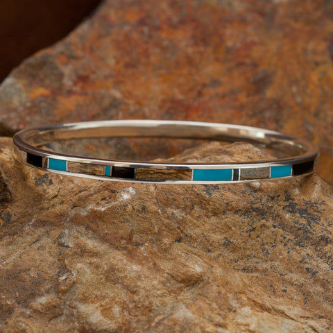David Rosales Turquoise Creek Inlaid Sterling Silver Bracelet
