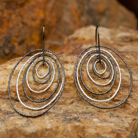 Sterling Silver and Rhodium Multiple Dimension Earrings