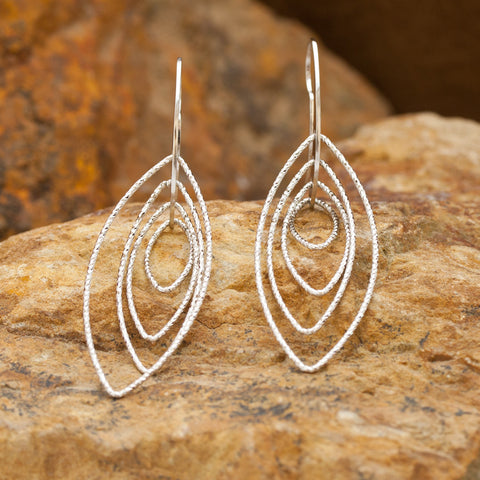 Ellipse Sterling Silver and Rhodium Multiple Dimension Earrings