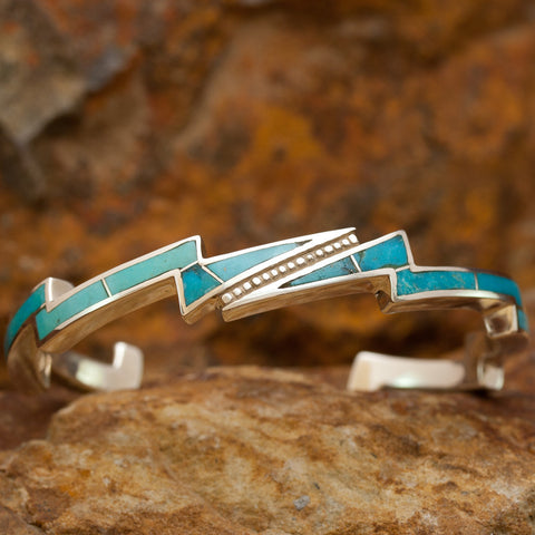 David Rosales Kingman Turquoise and Sterling Silver Bracelet