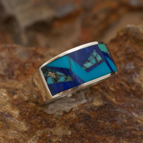 David Rosales Blue Mountain Inlaid Sterling Silver Ring