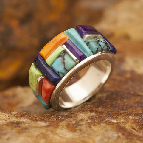 David Rosales Indian Summer Cobble Inlaid Sterling Silver Ring