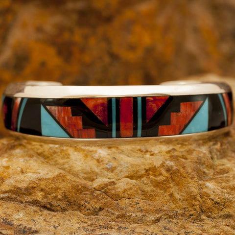 David Rosales Red Canyon Inlaid Sterling Silver Bracelet