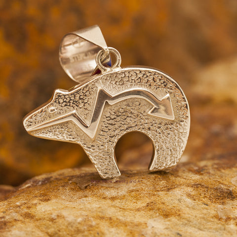 David Rosales Indian Summer Cobble Inlaid Sterling Silver Pendant Bear