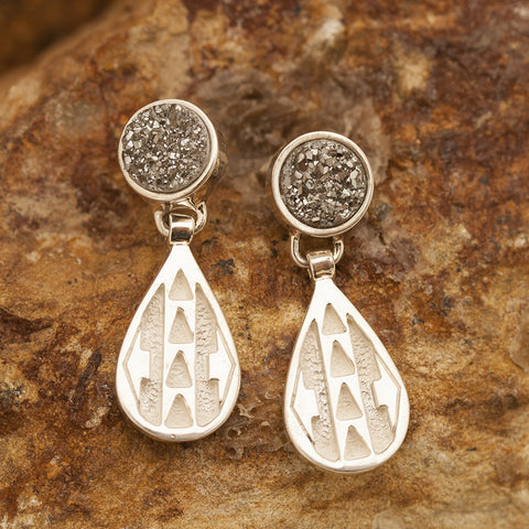 David Rosales Sterling Silver and Druzy Earrings