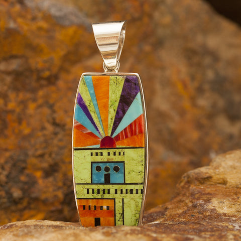 David Rosales Indian Summer Pueblo Inlaid Sterling Silver Pendant