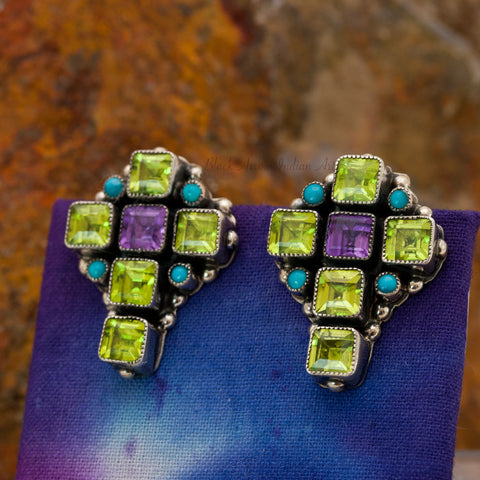 Leo Feeney Peridot Cross Sterling Silver Earrings -- ON SALE