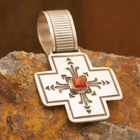 Traditional Sterling Silver and Coral Cross Pendant