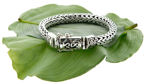 Keith Jack Sterling Silver Dragon Weave Bracelet w/ Eternity Clasp