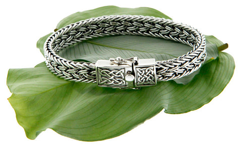 Keith Jack Sterling Silver Celtic Weave Bracelet w/ Eternity Clasp