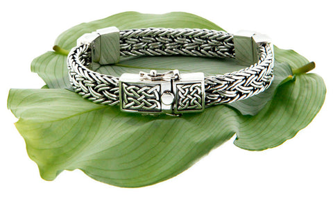 Keith Jack Sterling Silver Celtic Weave Hinged Bracelet w/ Clasp