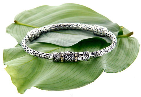 Keith Jack Sterling Silver & 18k Dragon Weave Bracelet w/ Eternity Clasp