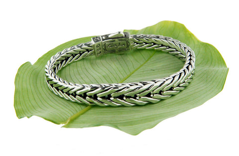 Keith Jack Sterling Silver Dragon Weave Graduated Bracelet w/ Eternity Clasp