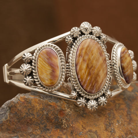 Purple & Orange Spiny Oyster Sterling Silver Cuff Bracelet