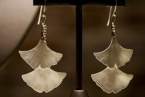Rebecca Hook Double Ginkgo Earrings
