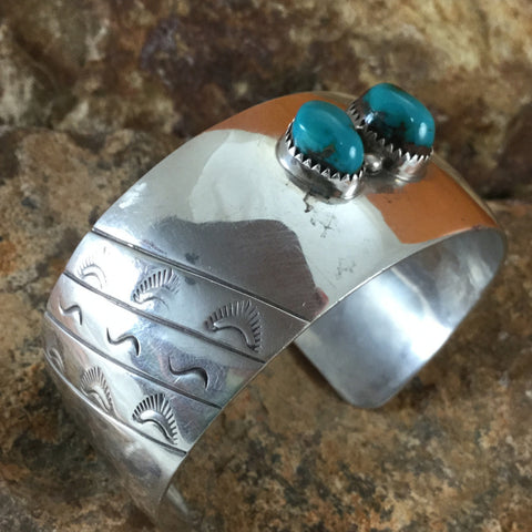 Two-Stone Turquoise Bracelet - Silver - Estate Jewelry