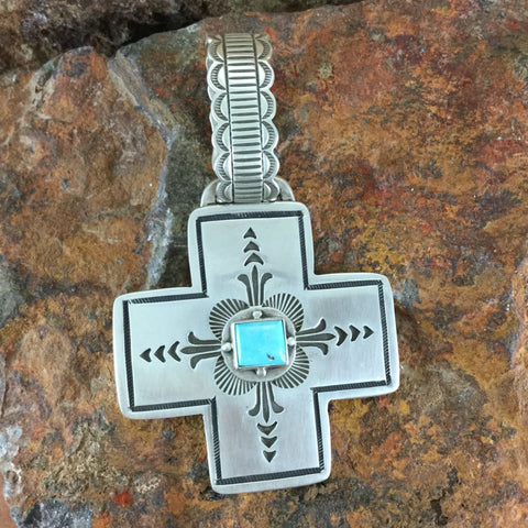 Traditional Sterling Silver & Cerrillos Turquoise Cross Pendant by Karl Nataani