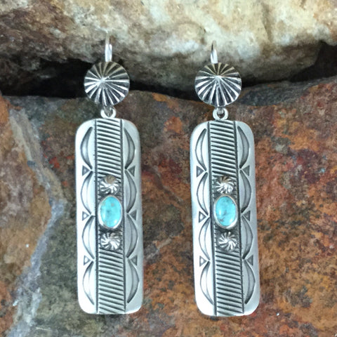Traditional Sterling Silver & Kingman Turquoise Earrings by Karl Nataani
