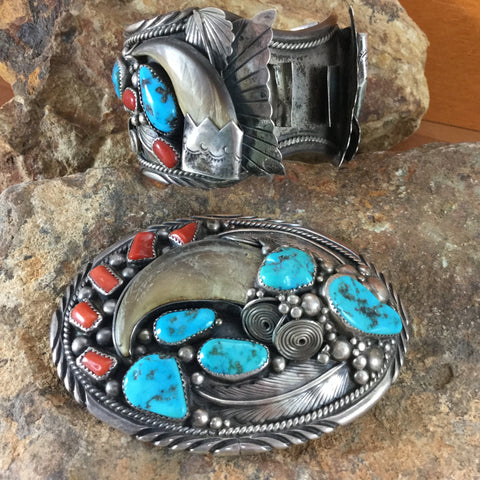 Bear Claw, Turquoise & Red Coral Silver Navajo Belt Buckle and Watch Cuff Set -- Estate Jewelry