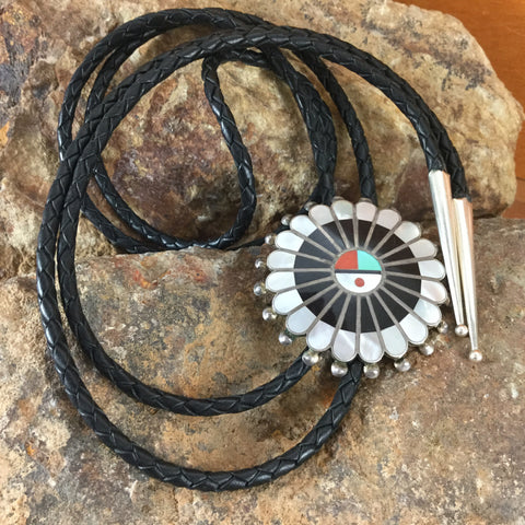 Zuni Inlaid Sterling Silver Bolo - Estate Jewelry