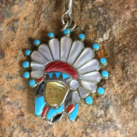 Zuni Inlaid Silver Bolo - Estate Jewelry