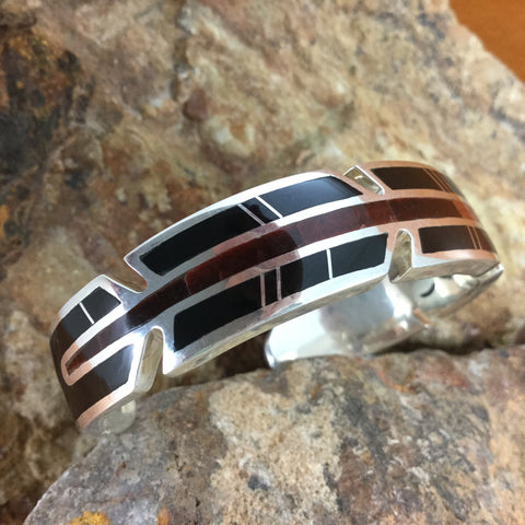 David Rosales Black Tiger Inlaid Sterling Silver Bracelet - Feather