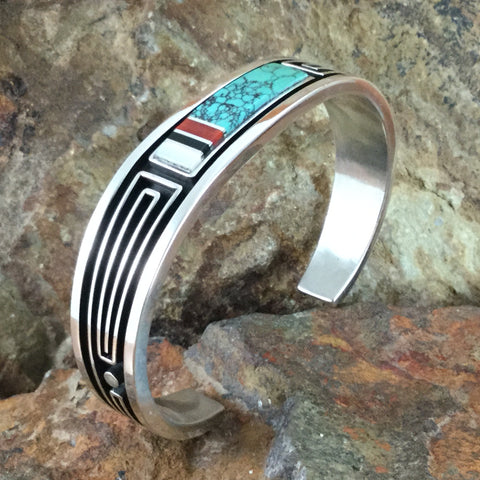 Inlaid Sterling Silver Bracelet by Albert Nells