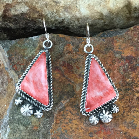 Orange Spiny Oyster Sterling Silver Earrings by Mary Tso