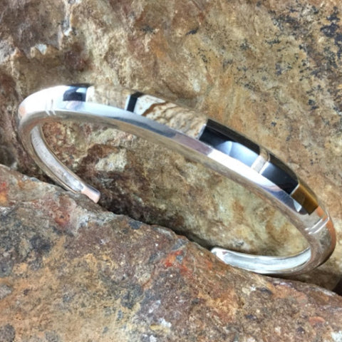 David Rosales Native Earth Inlaid Sterling Silver Bracelet