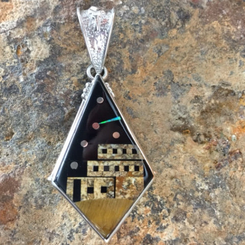 David Rosales Native Earth Fancy Inlaid Sterling Silver Pendant