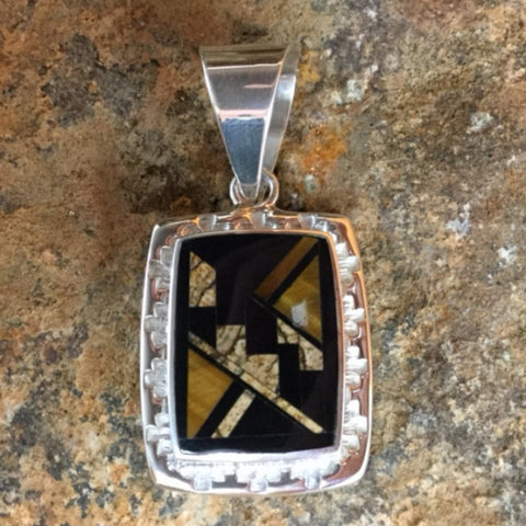 David Rosales Native Earth Inlaid Sterling Silver Pendant