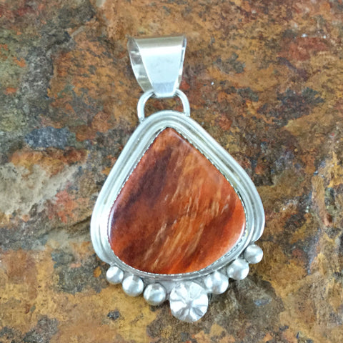 Orange Spiny Oyster Sterling Silver Pendant by Mary Tso