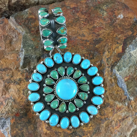 Sterling Silver Circle of Life Turquoise Cluster Pendant by Rocki Gorman - Estate Jewelry
