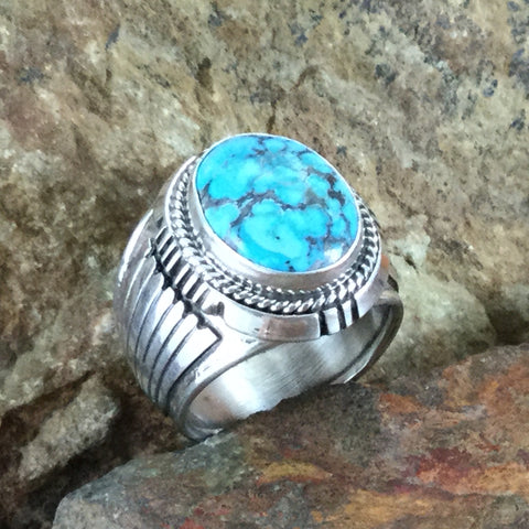 Kingman Turquoise Sterling Silver Ring by Wil Denetdale -- Size 10