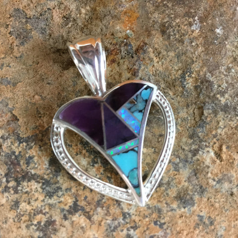 David Rosales Shalako Inlaid Sterling Silver Pendant Heart